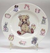Тарелка для девочки Время с Тедди, 20см Roy Kirkham XTEDPIN1392