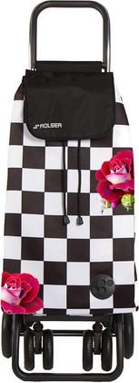 Сумка-тележка хозяйственная чёрно-белая с розами Rolser LOGIC TOUR PAC081f-tres