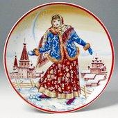 Тарелка декоративная Девушка со снежком, ф. Эллипс  ИФЗ 80.09363.00.1