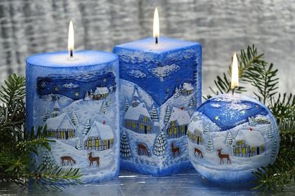 """Свеча """"Зима"""" шар диаметр 10cм Bartek Candles 128041"""