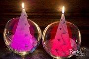 """Свеча """"Ёлочка со звёздами"""", конус с подсветкой 9x17cм Bartek Candles 5907602669794"""