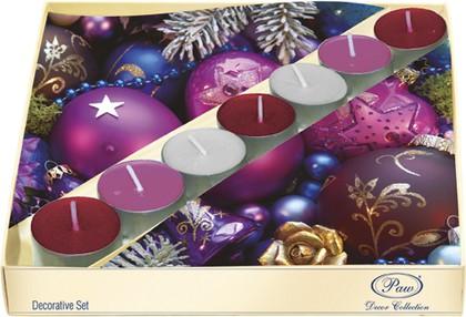 Набор 20 салфеток, 7 чайных свечей Фиолетовая композиция Paw SSC021602
