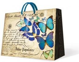 """Пакет подарочный горизонтальный """"Бабочки бирюзовые"""" 25х10х20см Paw AGB001518"""