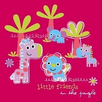 """Paw JUNGLE LITTLE FRIENDS PINK Салфетки """"Маленькие друзья"""", фон розовый, 33х33см, 3 слоя, 20шт., артикул SDL099013"""