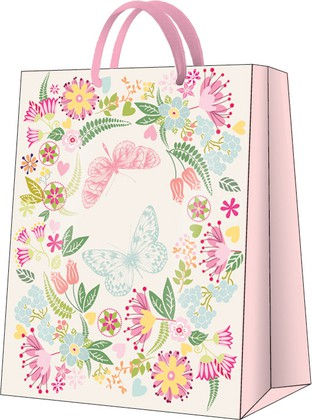 """Пакет подарочный """"Бабочки в цветах"""" 26.5x33.5x13см Paw AGB026705"""