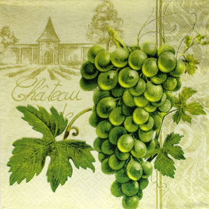 Салфетки для декупажа 3 слоя Виноград зелёный, 33x33см 20шт Paw SDL005000