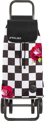 Сумка-тележка хозяйственная чёрно-белая с розами Rolser LOGIC DOS+2 PAC080f-tres