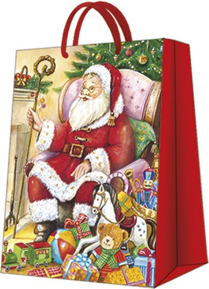 """Пакет подарочный """"Санта у камина"""" 30x41x12см Paw AGB021002"""