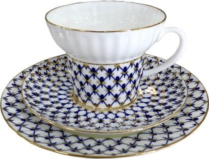 Набор чайный 3пр. Кобальтовая сетка, ф. Волна ИФЗ 81.15669.00.1