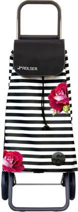 Сумка-тележка хозяйственная чёрно-белая с розами Rolser LOGIC RG PAC079marina