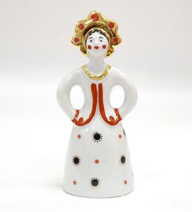 Скульптура Матрёшка-невеста в красном платье, Дулёвский фарфор ДС246.2