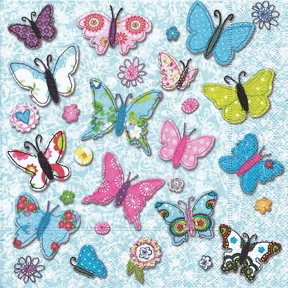 Салфетки коктейль Ручные бабочки, 25x25см, 3 слоя, 20шт Paper+Design 11521