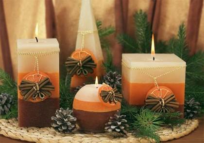 """Свеча """"Корица с апельсином"""" колонна 7х14cм Bartek Candles 136011"""
