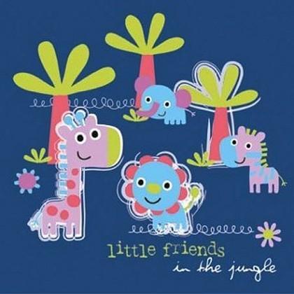 "Paw JUNGLE LITTLE FRIENDS BLUE Салфетки ""Маленькие друзья"", фон синий, 33х33см, 3 слоя, 20шт., артикул SDL099005"