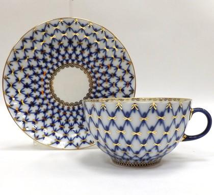Чашка с блюдцем Кобальтовая сетка, ф. Тюльпан ИФЗ 81.10105.00.1