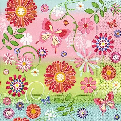 Салфетки для декупажа Цветочный узор, 33x33см, 3 слоя, 20шт Paper+Design 21832