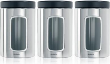 Набор из 3 контейнеров с окном 1.4л, сталь полированная Brabantia 247286