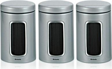 Набор из 3 стальных контейнеров с окном 1.4л, серый металлик Brabantia 247224