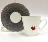 Чашка с блюдцем Сердечки 1, ф. Чёрный кофе ИФЗ 81.16016.00.1