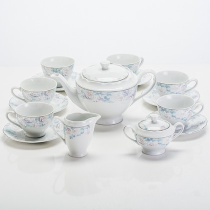 Сервиз чайный Голубая роза 6/15 Porcelaine Czech Gold Hands FSG236t/15