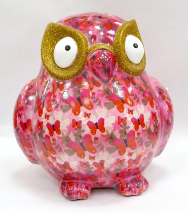 Копилка Большая Сова BIG ERROL XL розовая с бабочками Pomme-Pidou 148-00061/4