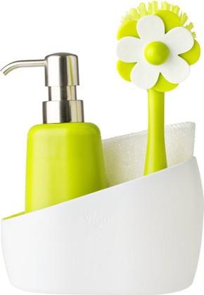 Дозатор моющего средства с щёткой для посуды и губкой на подставке Vigar Flor 6025
