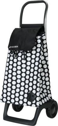 Сумка-тележка хозяйственная компактная бело-чёрная Rolser JOY-1800 BABY BAB001blanco/negro