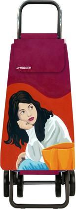 Сумка-тележка хозяйственная красная с рисунком Rolser LOGIC DOS+2 PAC093rojo/joana