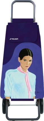 Сумка-тележка хозяйственная фиолетовая с рисунком Rolser RG MOU136more/carla