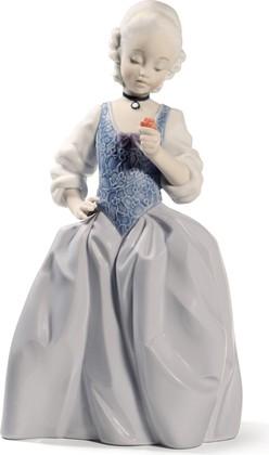 Статуэтка фарфоровая Юная дама рококо с розой (Rococo Girl With Flower) 26см NAO 02001719