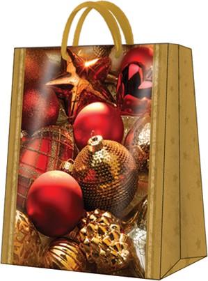 """Пакет подарочный """"Новогодние игрушки"""" 26.5x33.5x13см Paw AGB019605"""