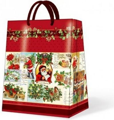"""Paw VINTAGE CHRISTMAS Пакет подарочный """"Рождественский винтаж"""", красный кант, 26,3x33x13,5см, артикул AGB016705"""