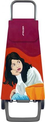 Сумка-тележка хозяйственная красная с рисунком Rolser JOY JET JET029rojo-joana