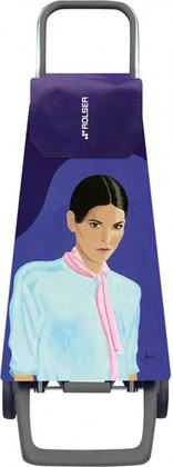 Сумка-тележка хозяйственная синяя с рисунком Rolser JOY JET JET029more-carla