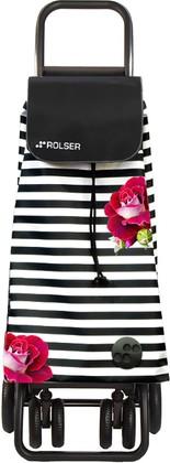 Сумка-тележка хозяйственная чёрно-белая с розами Rolser LOGIC TOUR PAC081marina