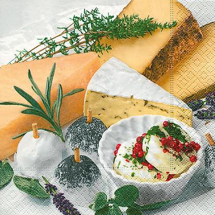 Салфетки для декупажа Вкусный сыр, 33x33см, 3 слоя, 20шт Paper+Design 21840