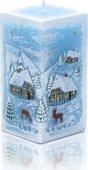 Свеча Зима, блок 7x7x14см Bartek Candles 5907602663556