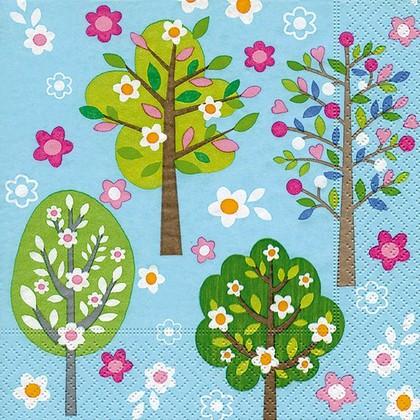 Салфетки для декупажа Деревья в цвету, 33x33см, 3 слоя, 20шт Paper+Design 21877
