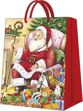 """Пакет подарочный """"Санта у камина"""" 26.5x33.5x13см Paw AGB029205"""