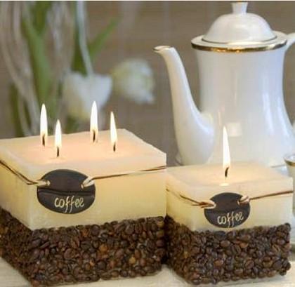 "Bartek Candles RUSTIC COFFEE Свеча ""Кофе"" - образ коллекции сливочно-кофейного тона, колонна 70х90мм, артикул 5907602648645"
