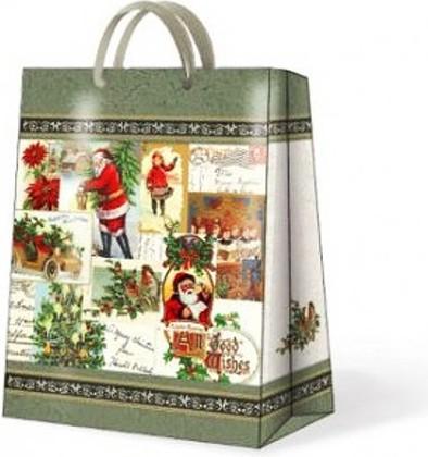 "Paw VINTAGE CHRISTMAS Пакет подарочный ""Рождественский винтаж"", 20x25x10см, артикул AGB017703"