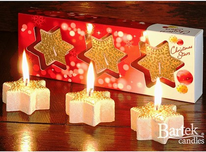 "Bartek Candles CHRISTMAS STAR Свеча ""Звезда со снежинкой"" - вариант В, 60х25мм, 3 шт. , артикул 5907602669534"