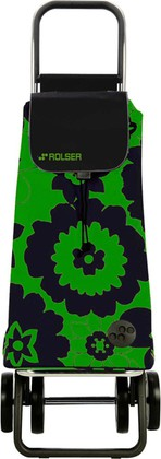 Сумка-тележка хозяйственная чёрная с зелёным Rolser DOS+2 MOU056verde/negro