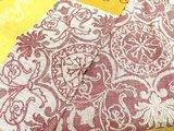"""Скатерть льняная """"Канцона"""" 150x200см + 6 салфеток жёлто-бордовый Белорусский лён 13c134/150x200/82/5"""