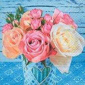 Салфетки Розы на синем, 33x33см, 20шт Paper+Design 200357