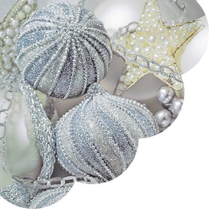 Салфетки круглые Серебрянные игрушки 32см, 3 слоя, 20шт Paw SDR080600