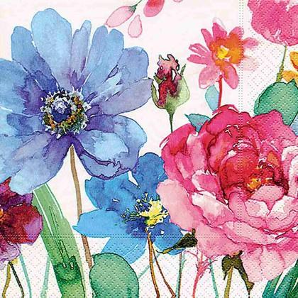 Салфетки коктейль Красочные цветы, 25x25см, 3 слоя, 20шт Paper+Design 11706