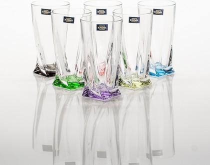 Набор стаканов для воды Квадро (Арлекино) 350мл, 6шт Crystalite Bohemia 99999/9/230177/350