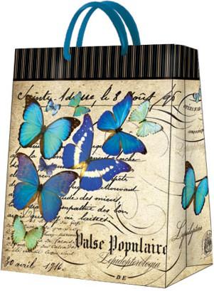 """Пакет подарочный """"Синие бабочки"""" 26.5x33.5x13см Paw AGB018505"""