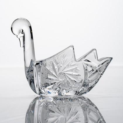 "Икорница ""Лебедь"" 18см, ""Мельница"" ручная дошлифовка Crystalite Bohemia 7KG13/0/28320/180"